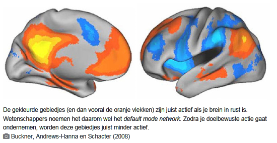 het default mode network is actief als we lummelen